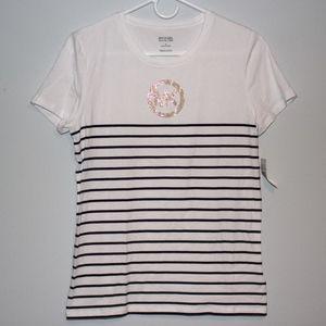 Michael Kors - Navy and White Strip Logo T-shirt
